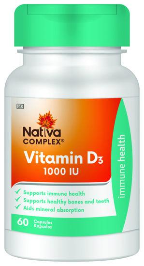 Picture of Nativa Vitamin D 1000IU Capsules 60's